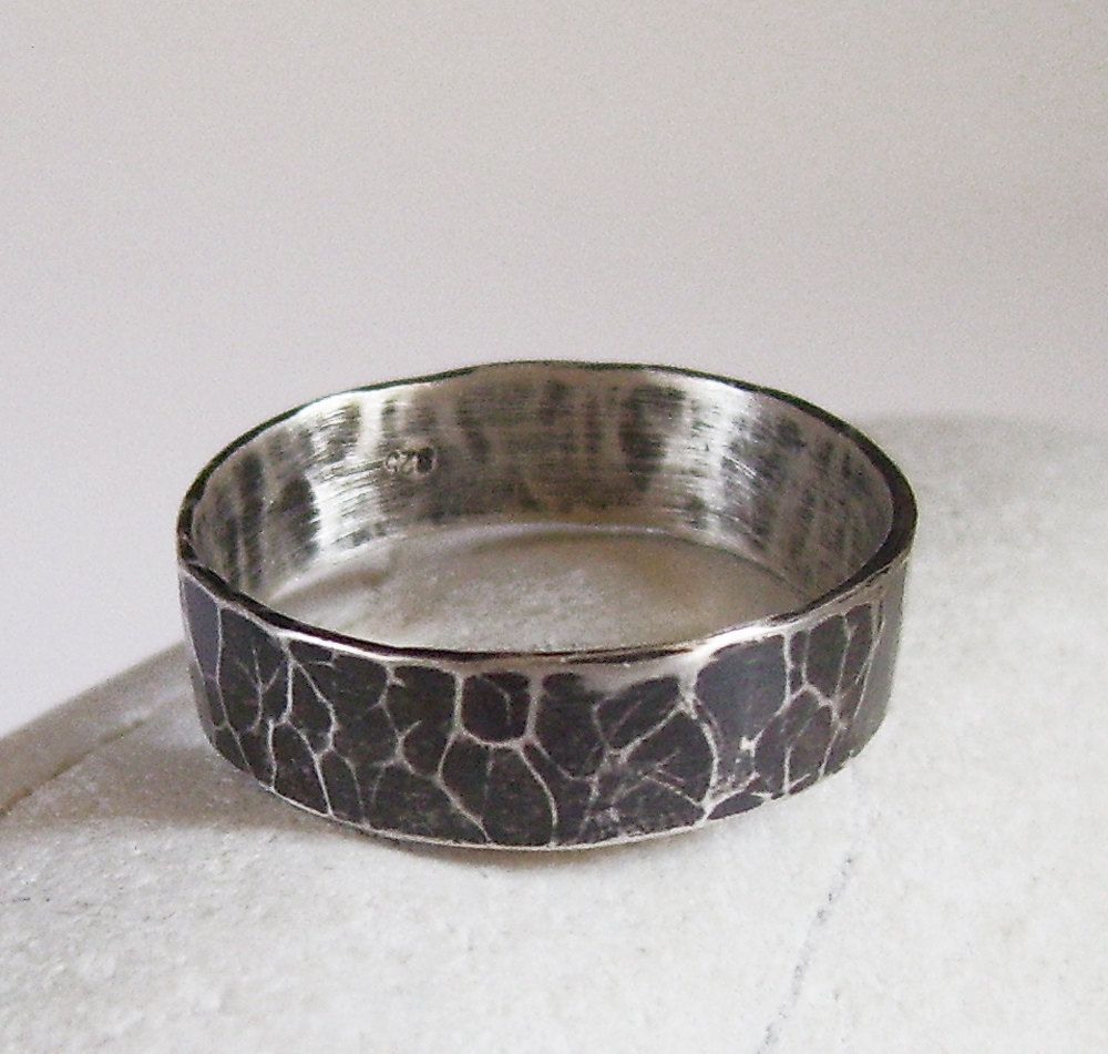 Hammered oxidized wide sterling silver ring mens wedding band