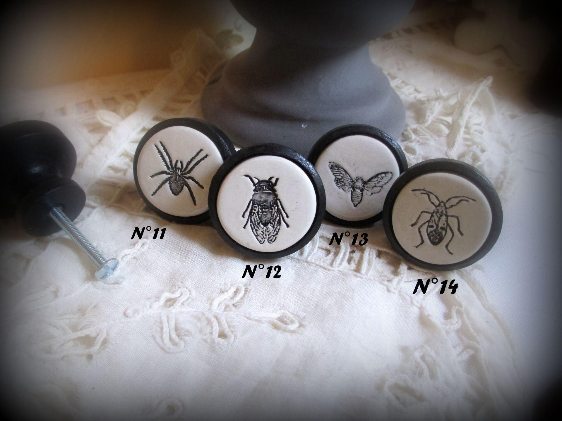 un bouton de meuble insectes porte ou de tiroir en bois et terre cuite maill e v ritable. Black Bedroom Furniture Sets. Home Design Ideas