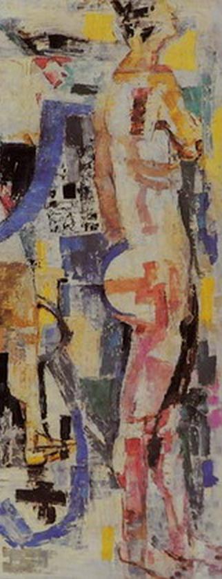 Painting by Fausto Pirandello (1899-1975, Italian), 1960, 'Bagnanti nella rifrazione' (Bathers in refraction), Oil on canvas. (detail)