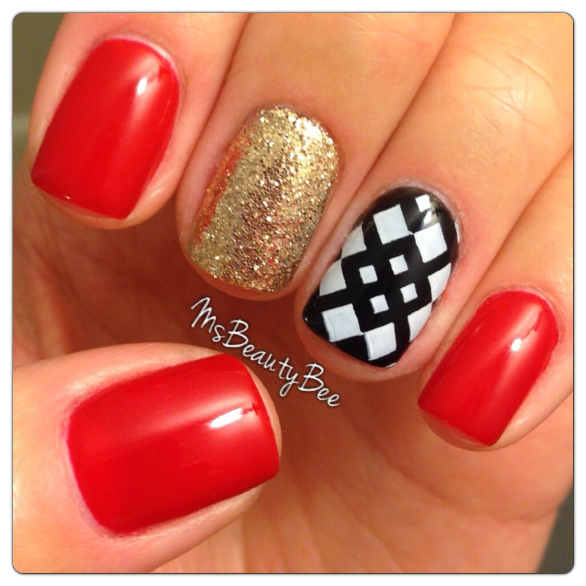 Red, Gold, Black Nails. Colors used: Gelish - Hot Rod Red & Black ...