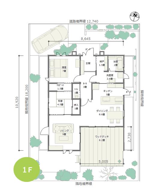 平屋建て 24坪 2ldk 北玄関 広いウッドデッキで緑を楽しむ間取り 3d