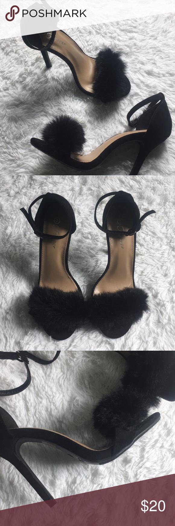 Black Fuzzy Heels Fuzzy Heels Heels Black Sandals Style