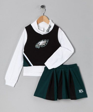 Take a look at this Black   Green Philadelphia Eagles Cheerleader Top    Skirt - Girls by NFL on  zulily today! 998df56d1