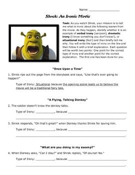 irony worksheet teaching with the movie shrek shrek literacy strategies and classroom language. Black Bedroom Furniture Sets. Home Design Ideas