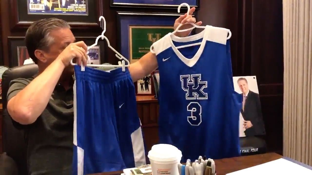 Coach cal shows off uks new uniforms for the bahamas