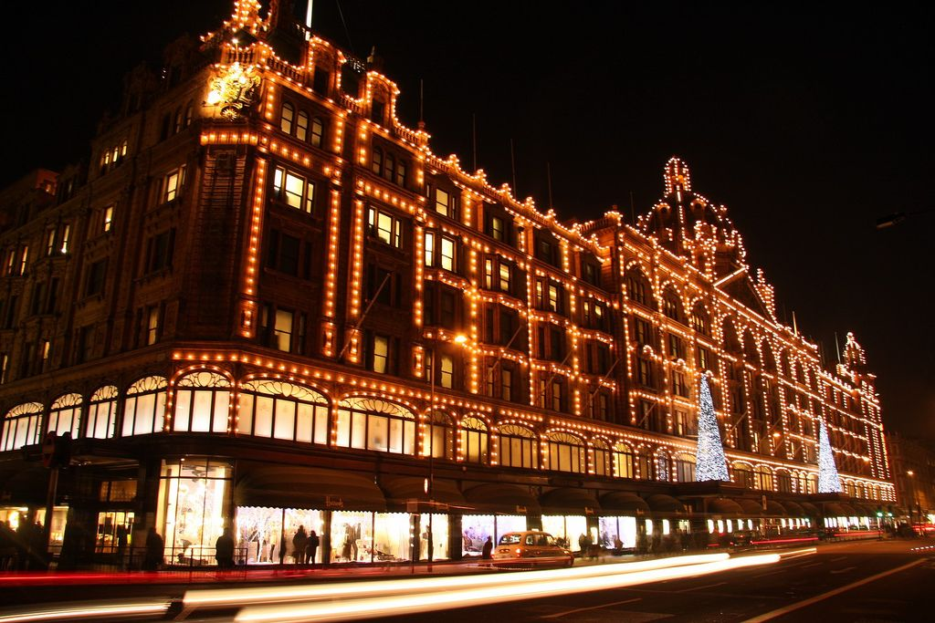 harrods with christmas lights decoration, london uk - Harrods With Christmas Decoration, London UK Architectural Things
