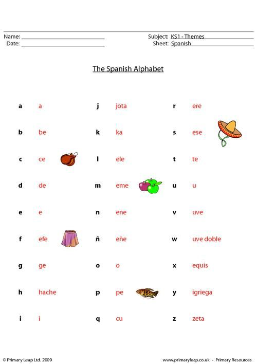 PrimaryLeapcouk Spanish alphabet Worksheet – Free Printable Spanish Worksheets