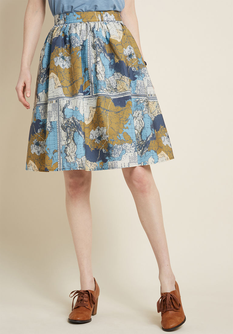 3f9c90f3cf Charming Cotton Skirt with Pockets in Maps in XS | Products | Skirts ...