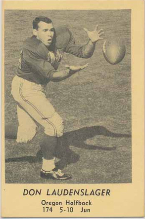 1958 Oregon Junior Halfback Don Laudenslager Www Sportingoregon Com Baseball Cards Oregon History