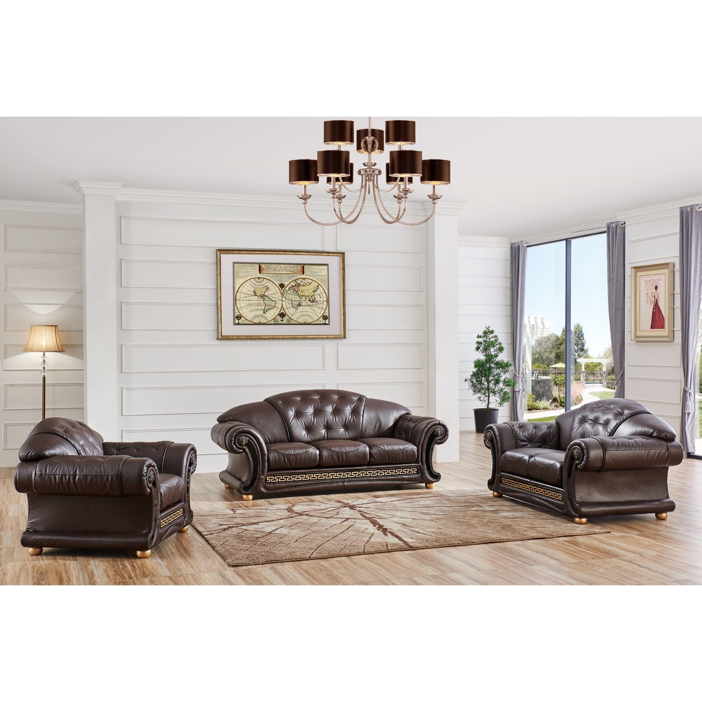 Luca Home 3-piece Split Brown Leather Living Room Set (Brown Half ...