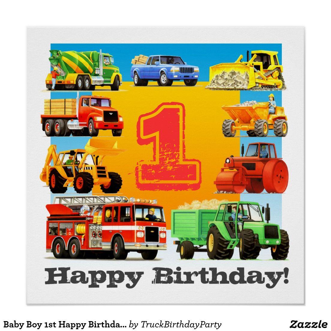 Baby Boy 1st Happy Birthday Construction Truck Poster Zazzle Com