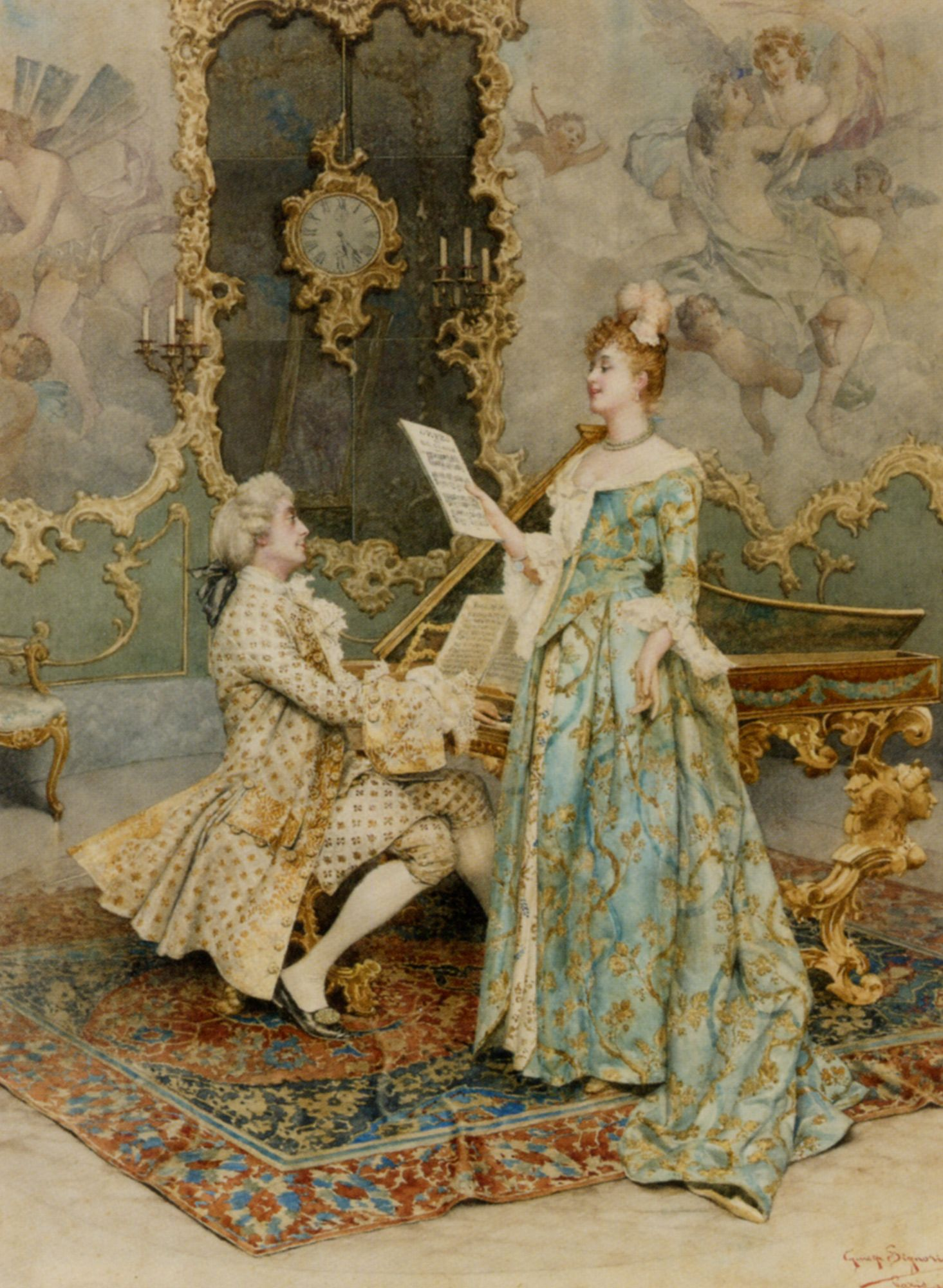 The Soloist Guiseppe Signorini Rococo Style Marie Antoinette - Rococo painting