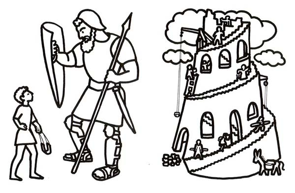 David And Goliath In Tower Of Babel Coloring Page Kids Play Color In 2020 Tower Of Babel Coloring Pages David And Goliath