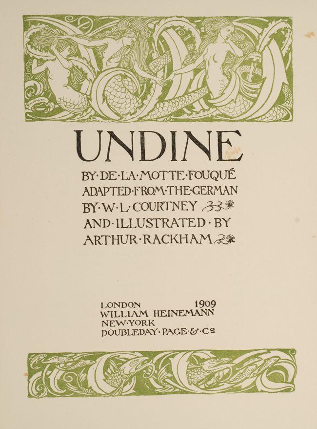 Undine By De La Motte Fouque 1909 Arthur Rackham Film Books English Book