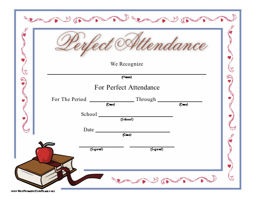 This printable certificate honoring perfect attendance at school – Attendance Certificates Printable