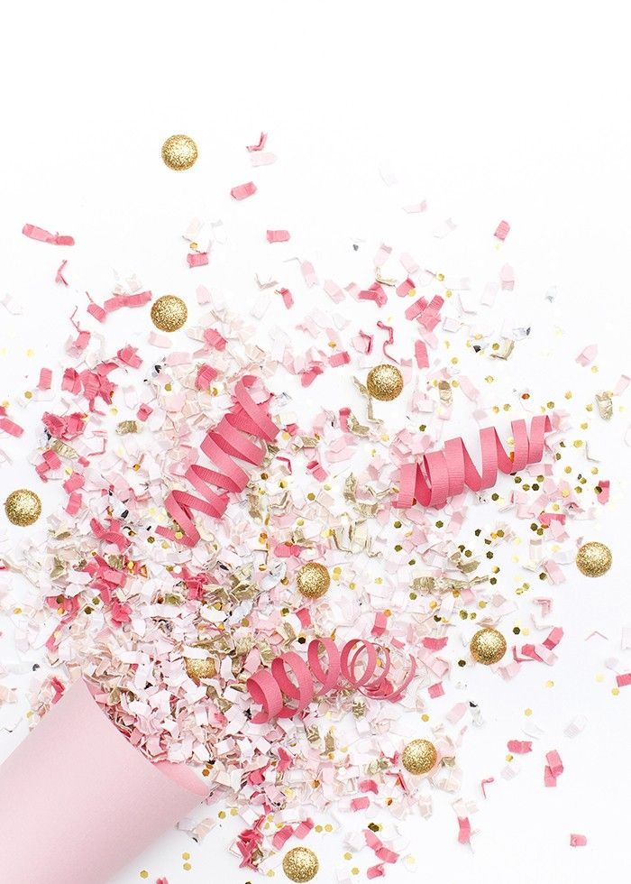 Styled Stock Photography  Pink, white, & gold confetti party image  Styled Stock Photography
