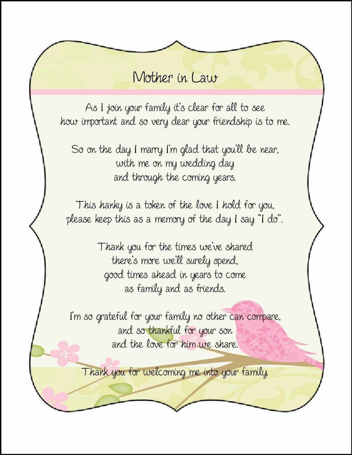 Mother in Law Poem Card from Bride great with embroidered handkerchief