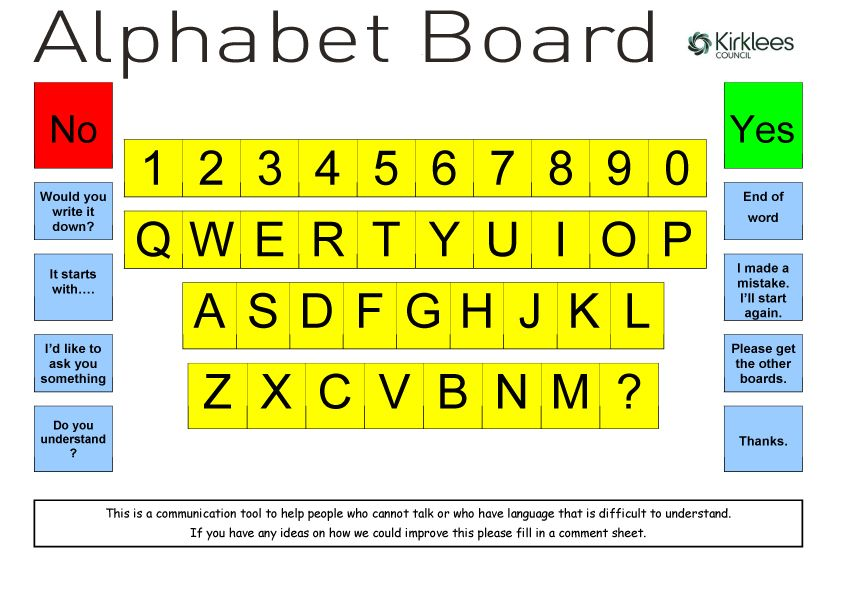 Alphabet Board used with people that cannot talk or have difficulty talking