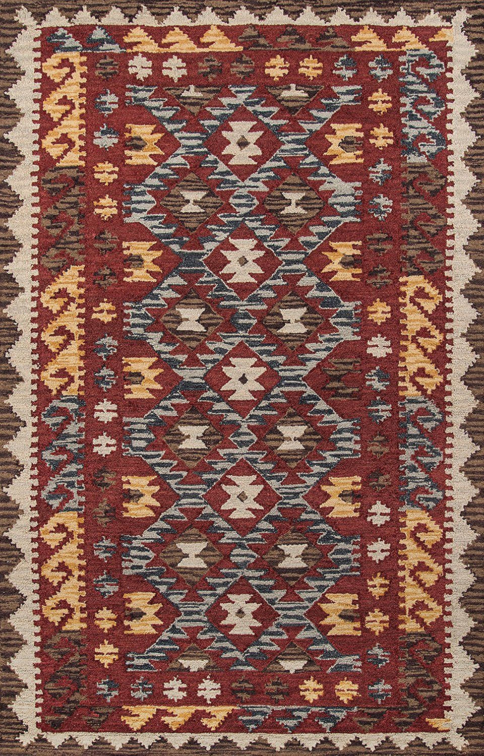 Momeni Rugs Tangitan 7red3656 Tangier Collection 100 Wool Hand Tufted Tip Sheared Transitional