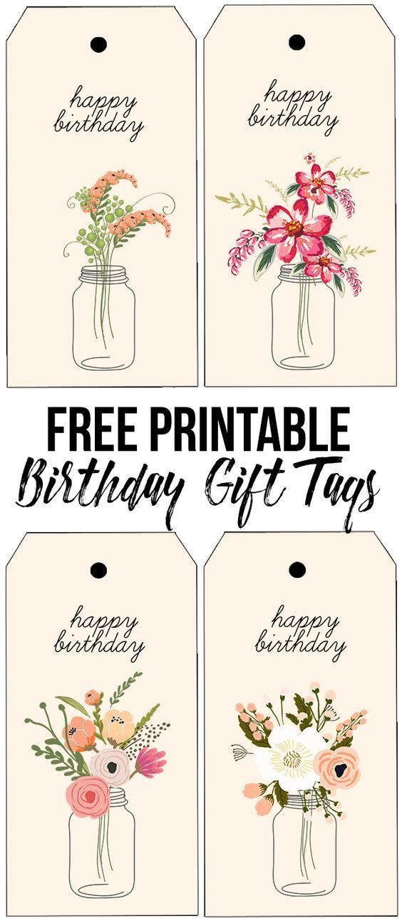 Darling (and free) printable birthday tags with beautiful florals ...
