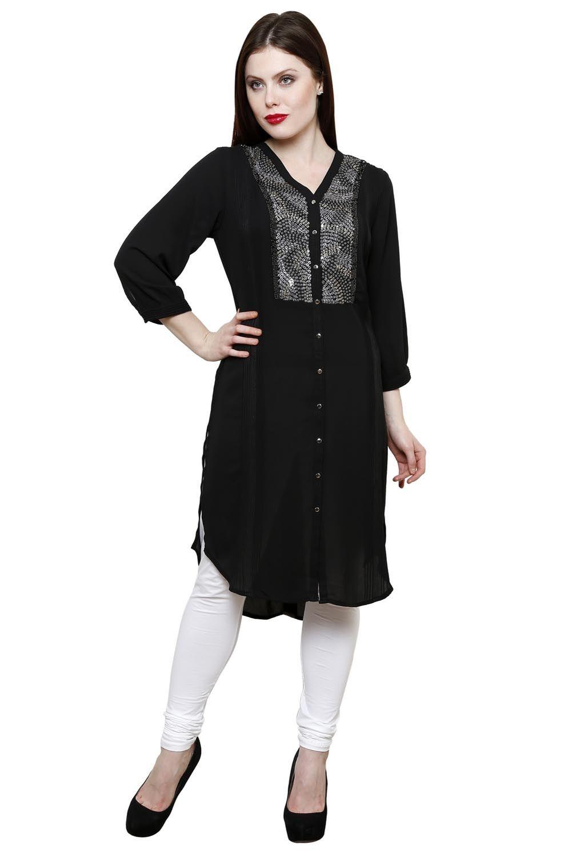 Black 3-4 Sleeve Embroidered #Kurti - #Lakshita