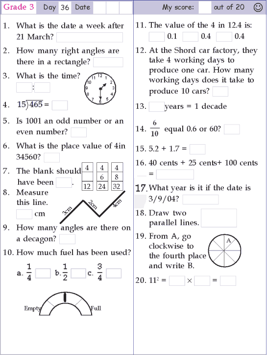 Mental Math Grade 3 Day 36 Math Pages First Grade Math Worksheets Math Work