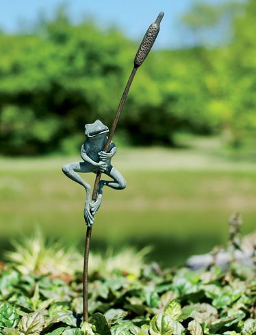 Frog and Cattail Stake Home Gardening and Landscape Pinterest