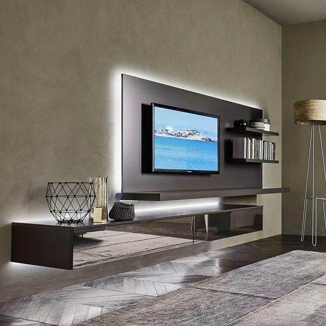 Diese Elegante Wohnwand Mit Schwenkbarer Tv Halterung Und Lowboard
