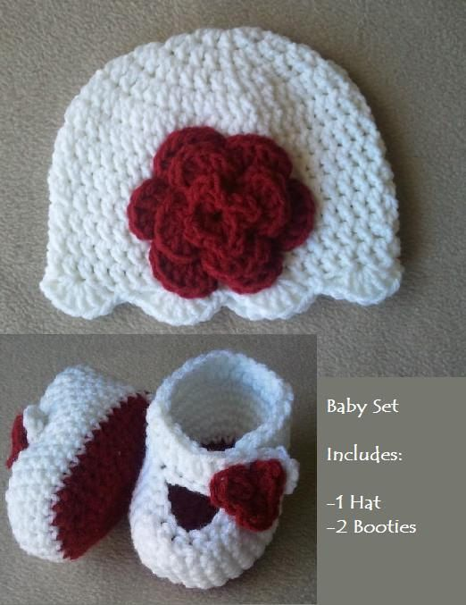 Build your own Baby crochet set made for sizes 0-3m, 3-6 months and 6-9 months, baby newborn hat, baby newborn booties. $15.00, via Etsy.