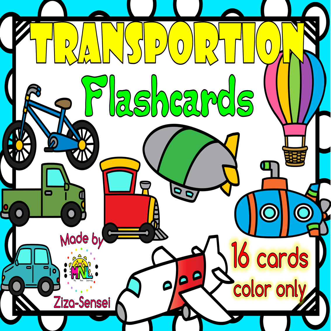 Transportation Flashcards Color Only In