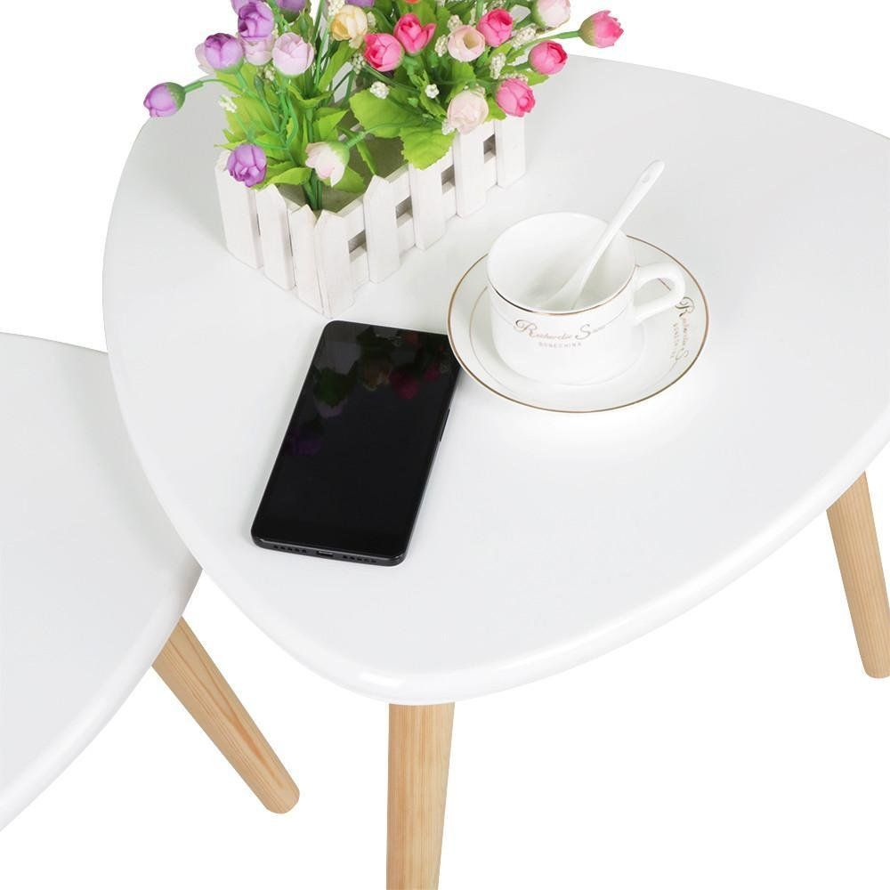 Topeakmart Set Of 2 Modern White Gloss Triangle Top Nesting Tables Living Room Side End Tables Set Nesting Tables Living Room Living Room Table Nesting Tables #triangle #end #tables #for #living #room