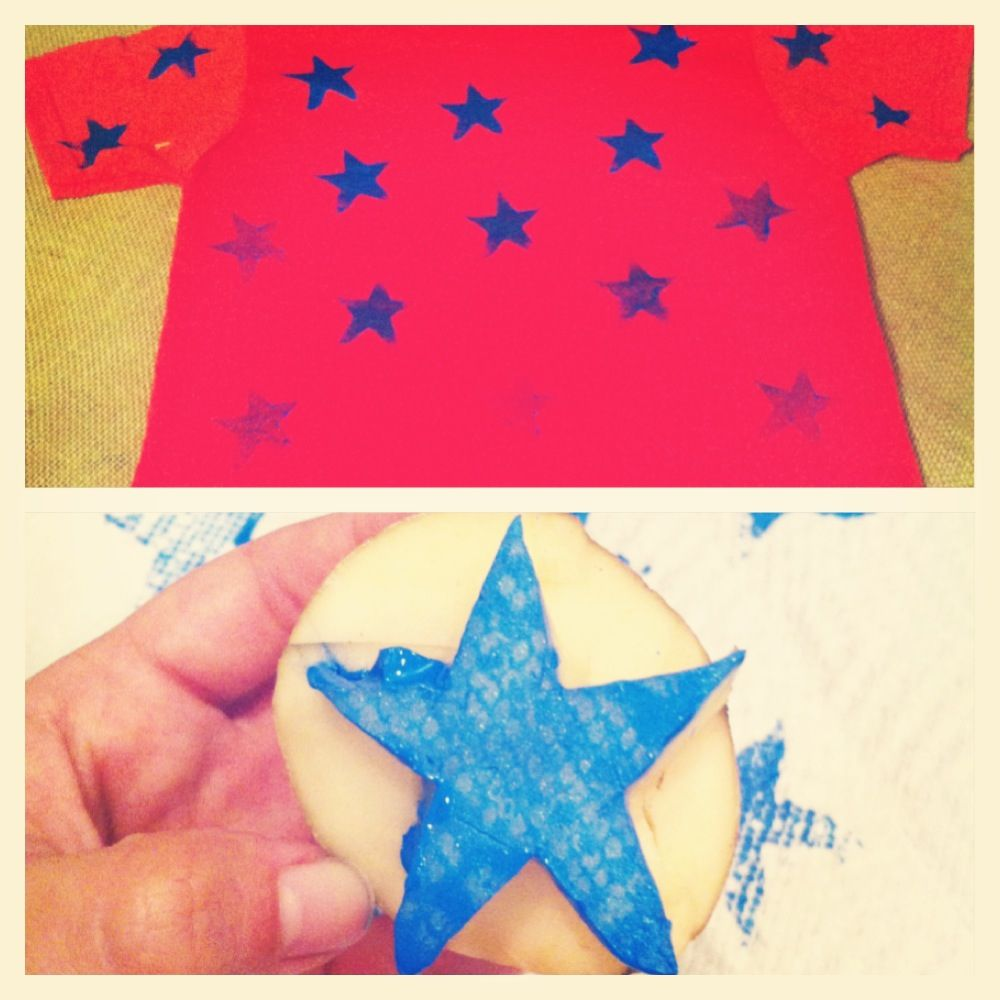 DIY Ombre Stars Shirt With Homemade Potato Stamp Need Fabric Paint Sponge Brush Knife Piece Of Cardboard To Lay Inside Flatten