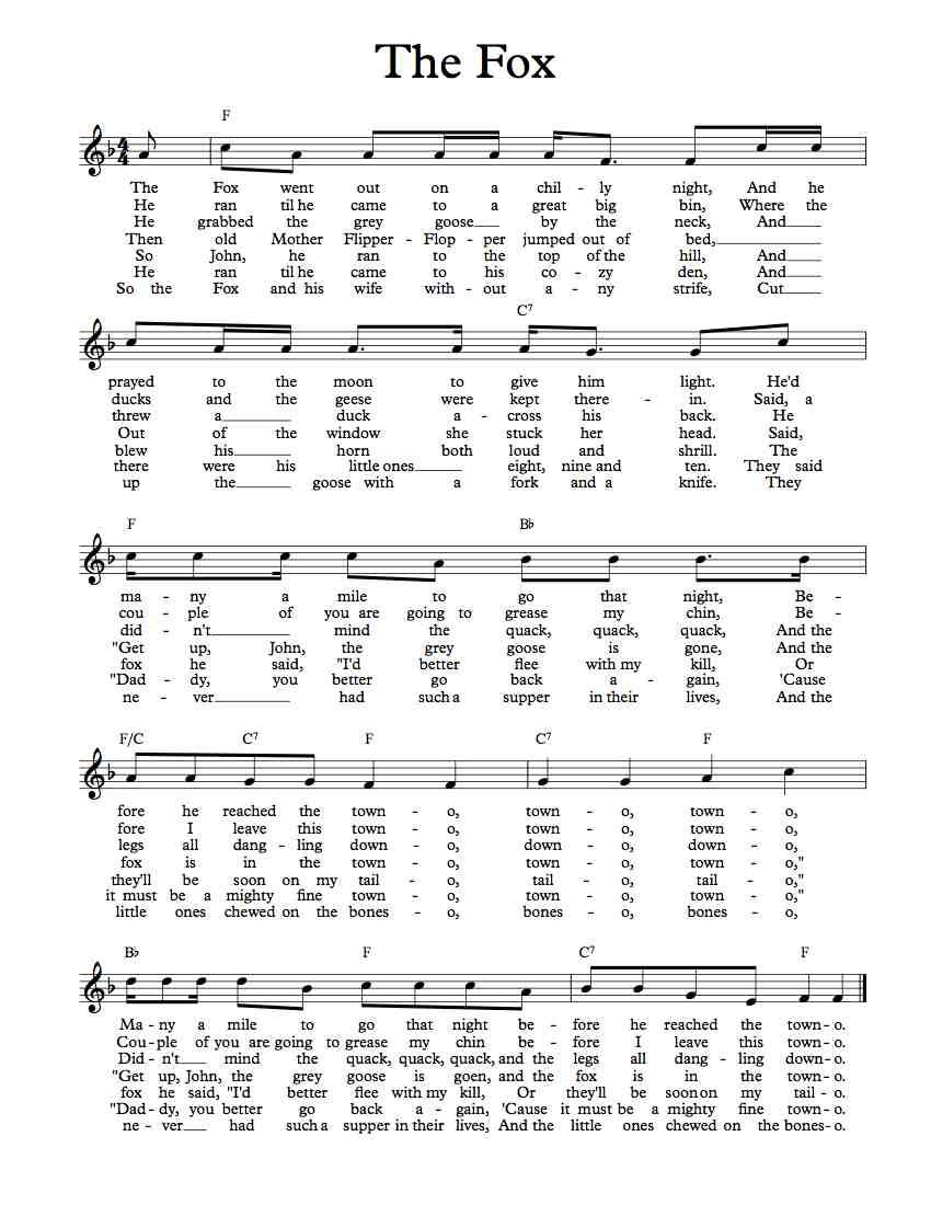 Free sheet music free lead sheet the fox went out in the books hexwebz Gallery
