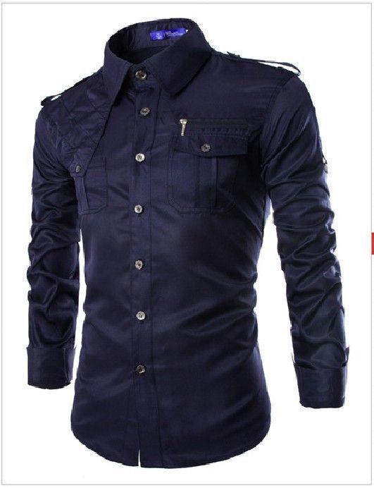 ef7ca5cc3347 Men Military Style Slim Fit Shirt With Pockets Red, Army Green, Navy Blue,  Khaki, Black, Light Blue