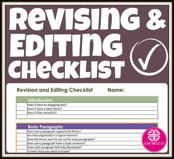 revision and editing checklist for students when students are revision and editing checklist for students when students are finished drafting this is a perfect
