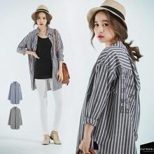 CatWorld - Long-Sleeve Lettering Striped Long Shirt