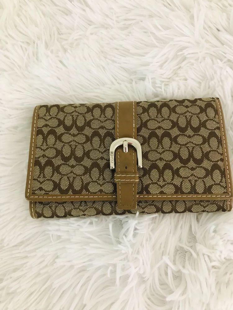 Coach designer womens wallet brown leather money holder