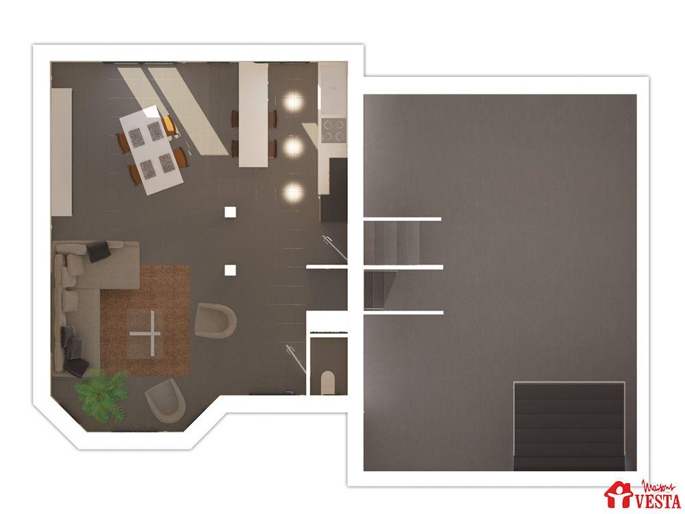 Maisons VESTA  Plan du sous-sol et du rez-de-chaussée du modèle
