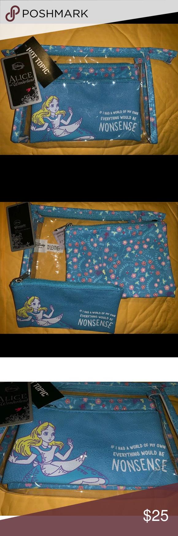 disney loungefly alice in wonderland makeup bag nwt
