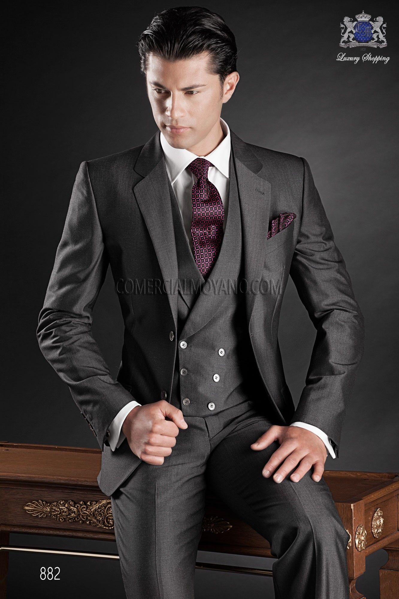 Italian gray wool mohair wedding suit | Traje de novio, Italiano y ...