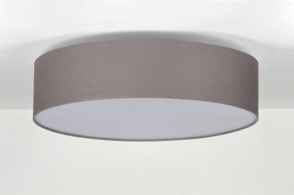 plafondlamp modern metaal stof grijs rond