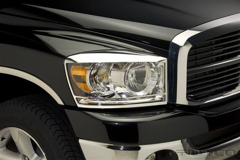 Putco Chrome Abs Headlight Bezels For 2006 2008 Dodge Ram 1500 2500 3500 Headlight Covers Custom Headlights Dodge Ram