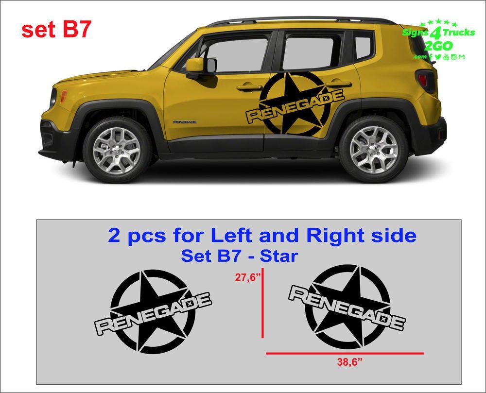 2pcs Vinyl Door Decal Sticker Side Graphic For Jeep Renegade Set B7 Jeep Renegade Vinyl Door Decal Jeep [ 809 x 1000 Pixel ]