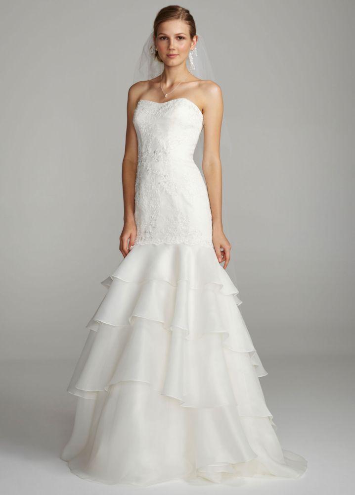 Melissa Sweet Floral Lace Trumpet Wedding Dress Style AI25080482
