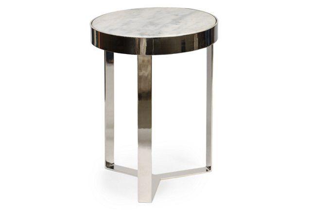 Carlos Side Table, White/Nickel Dream Home Pinterest Granite