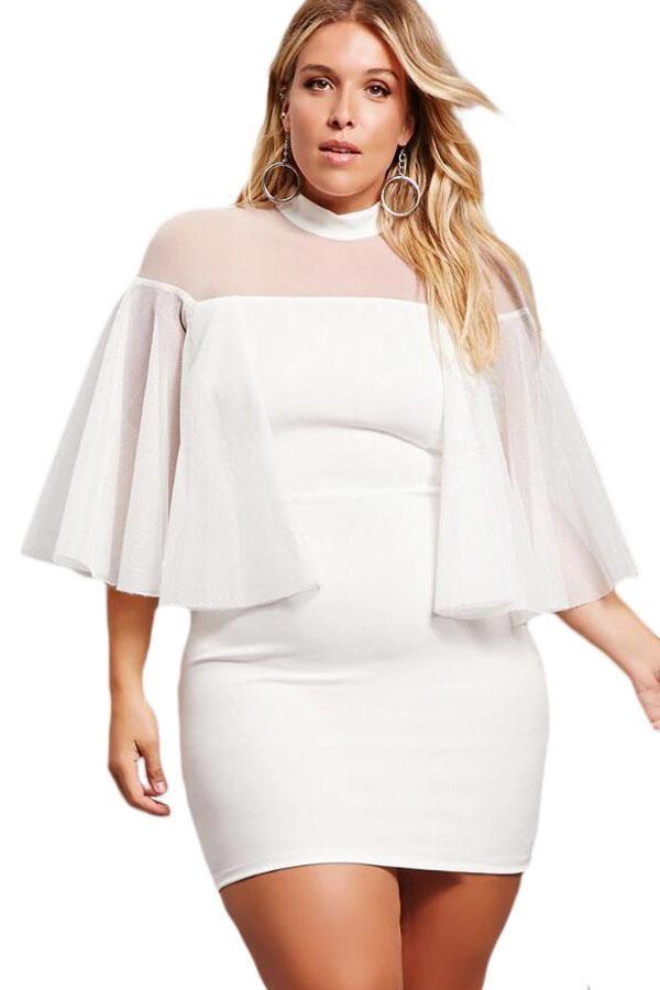 White Plus Size Semi-sheer Dress Size (US 22-24)XXXL by VictoryRoze ...