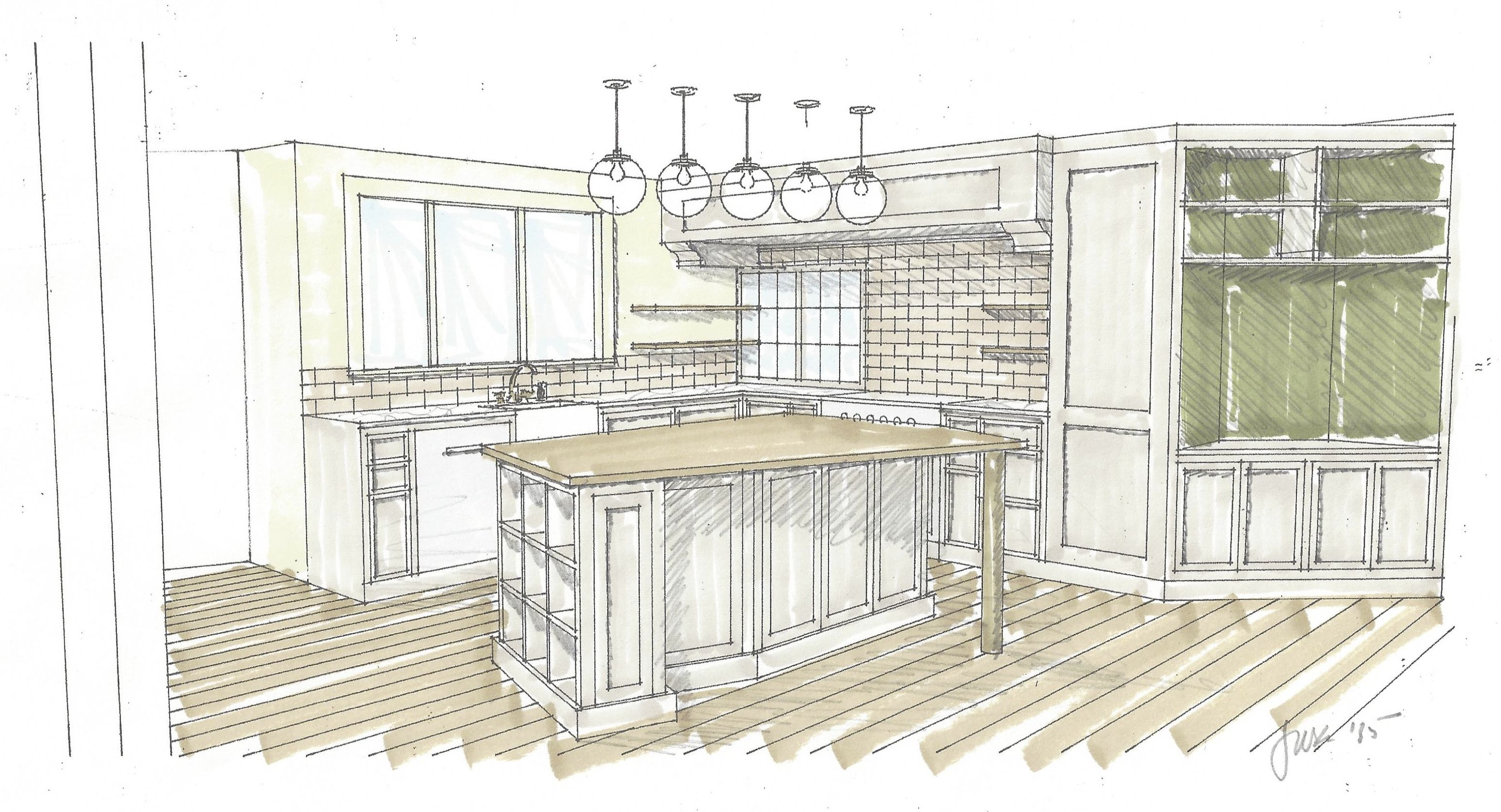 Dining room perspective drawing - Perspective Drawing Of Custom Kitchen Island With View To Pass Through Window To Dining Room By