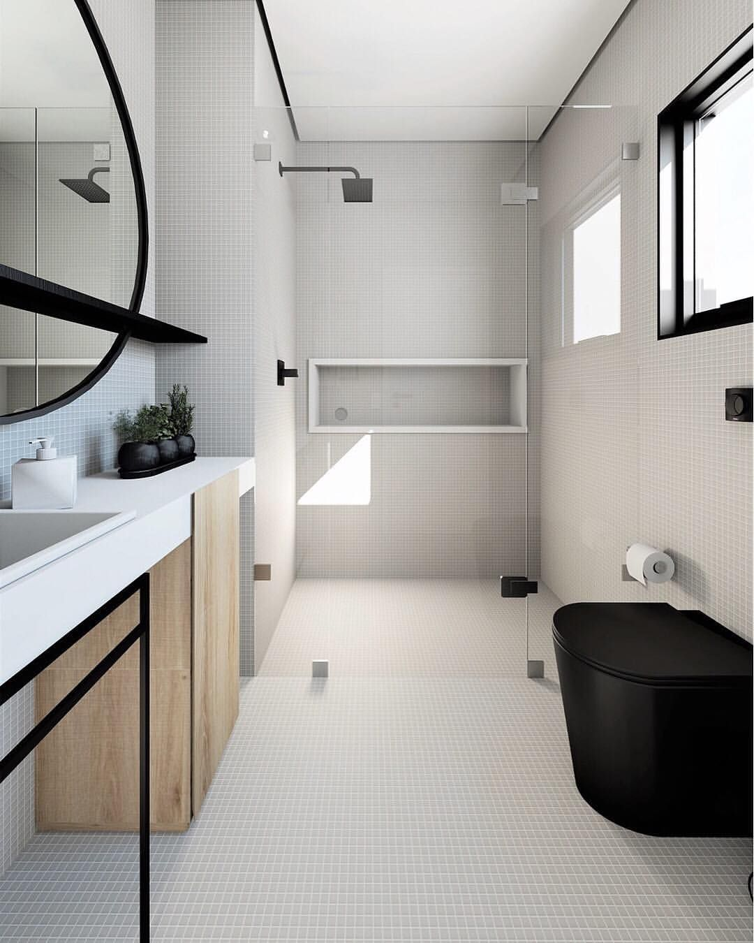 In Case You Forgot To Swipe Left From Our Previous Post Because We Were Actually Testing You Black Tile Bathrooms Modern Interior Design Amazing Bathrooms Amazing concept modern bathroom