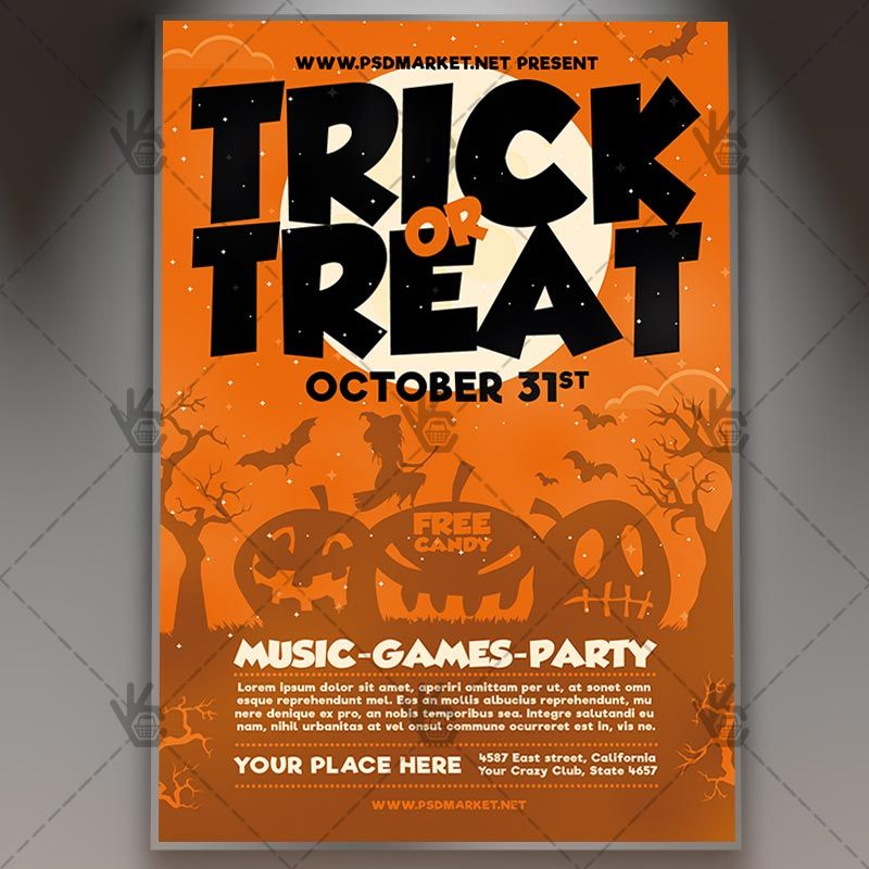 Trick or Treat - Halloween Flyer PSD Template #blood #ghostparty - Zombie Flyer Template
