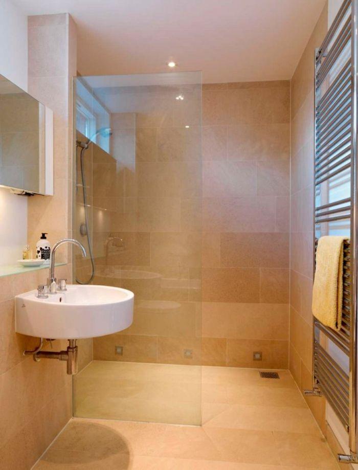 kleines bad einrichten duschkabine offen glas raumteiler rundes waschbecken